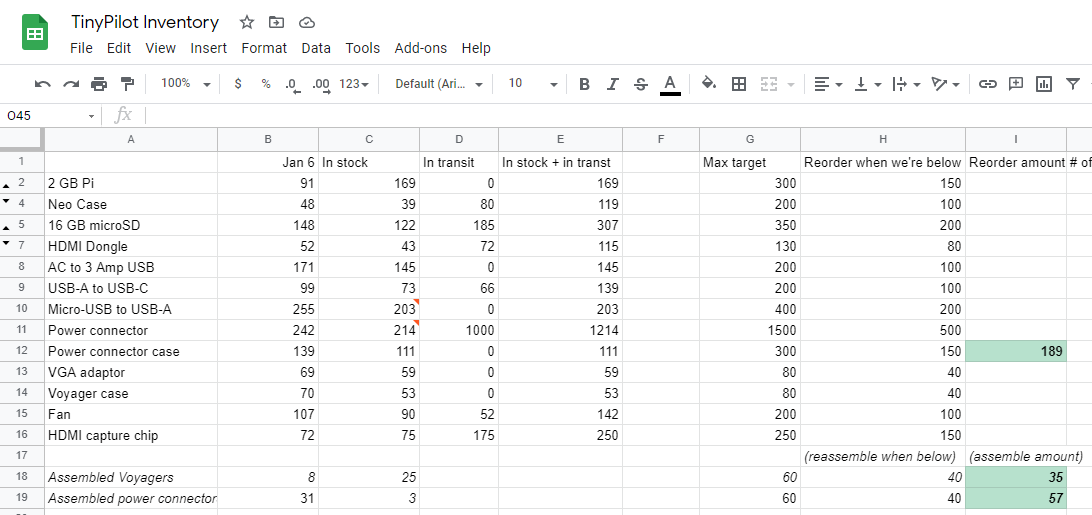 Screenshot of TinyPilot inventory spreadsheet