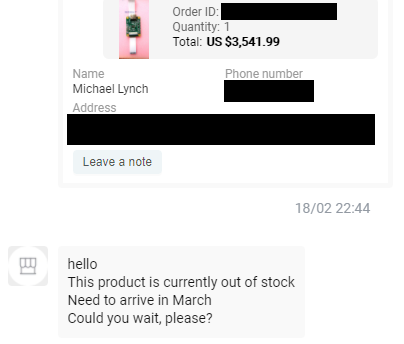 hello This product is currently out of stock Need to arrive in March Could you wait, please?