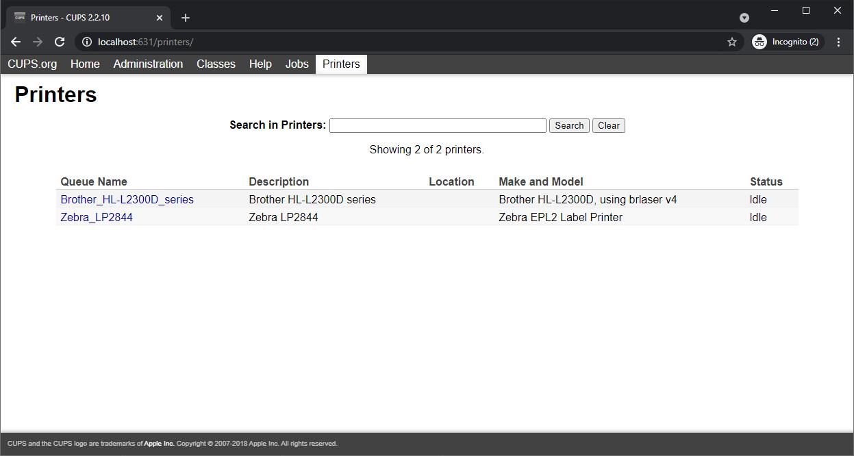 Screenshot of CUPS interface