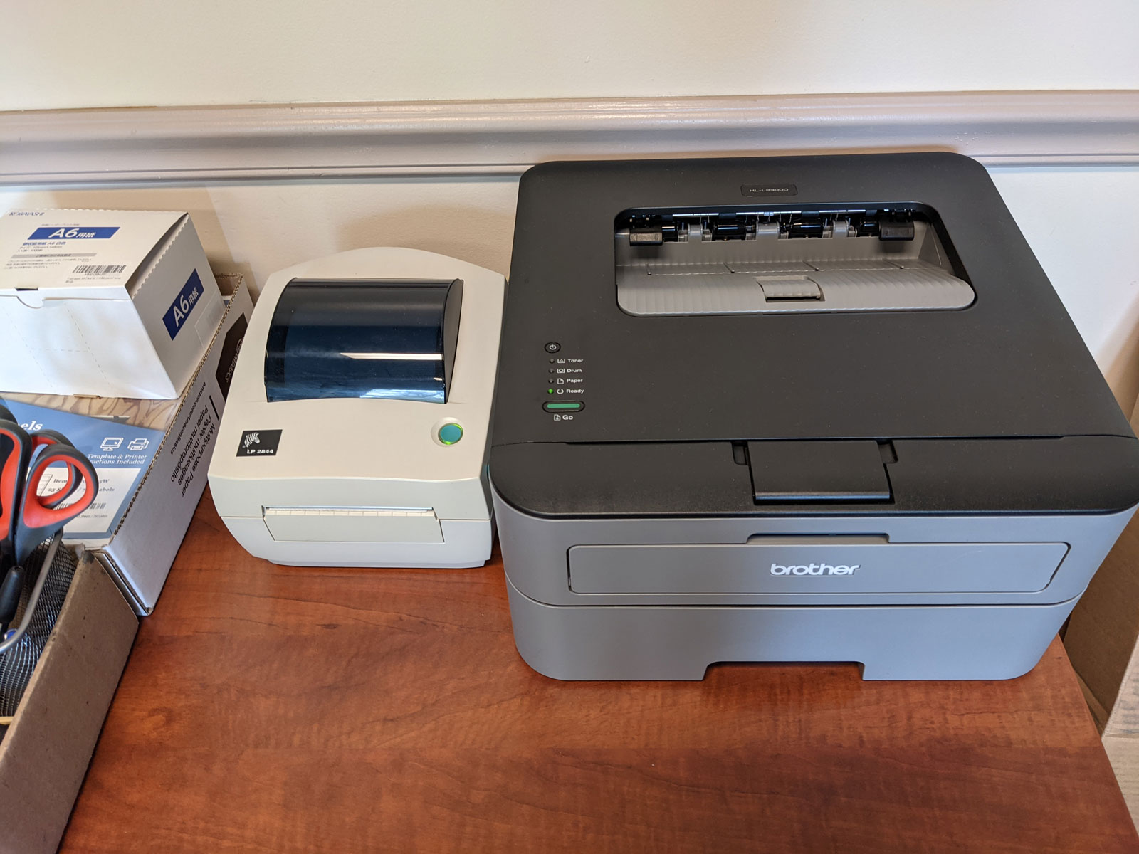 Photo of printers on my desk