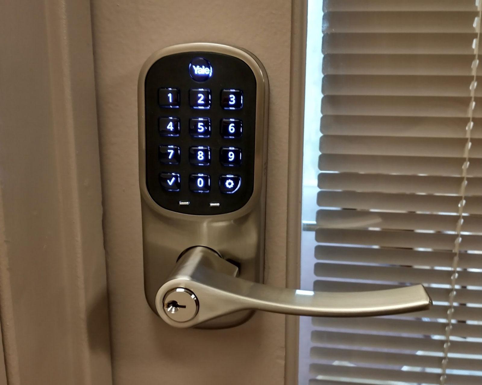 Photo of smart lock on office door