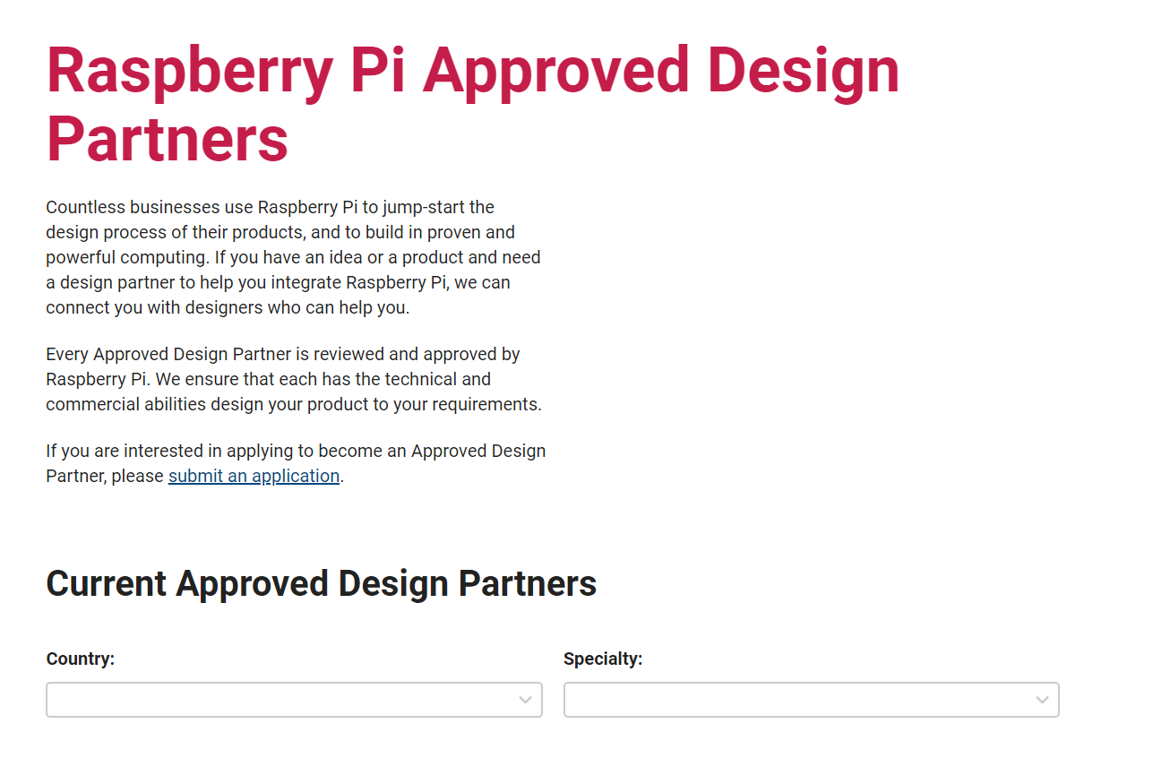Screenshot of Raspberry Pi vendor partner website