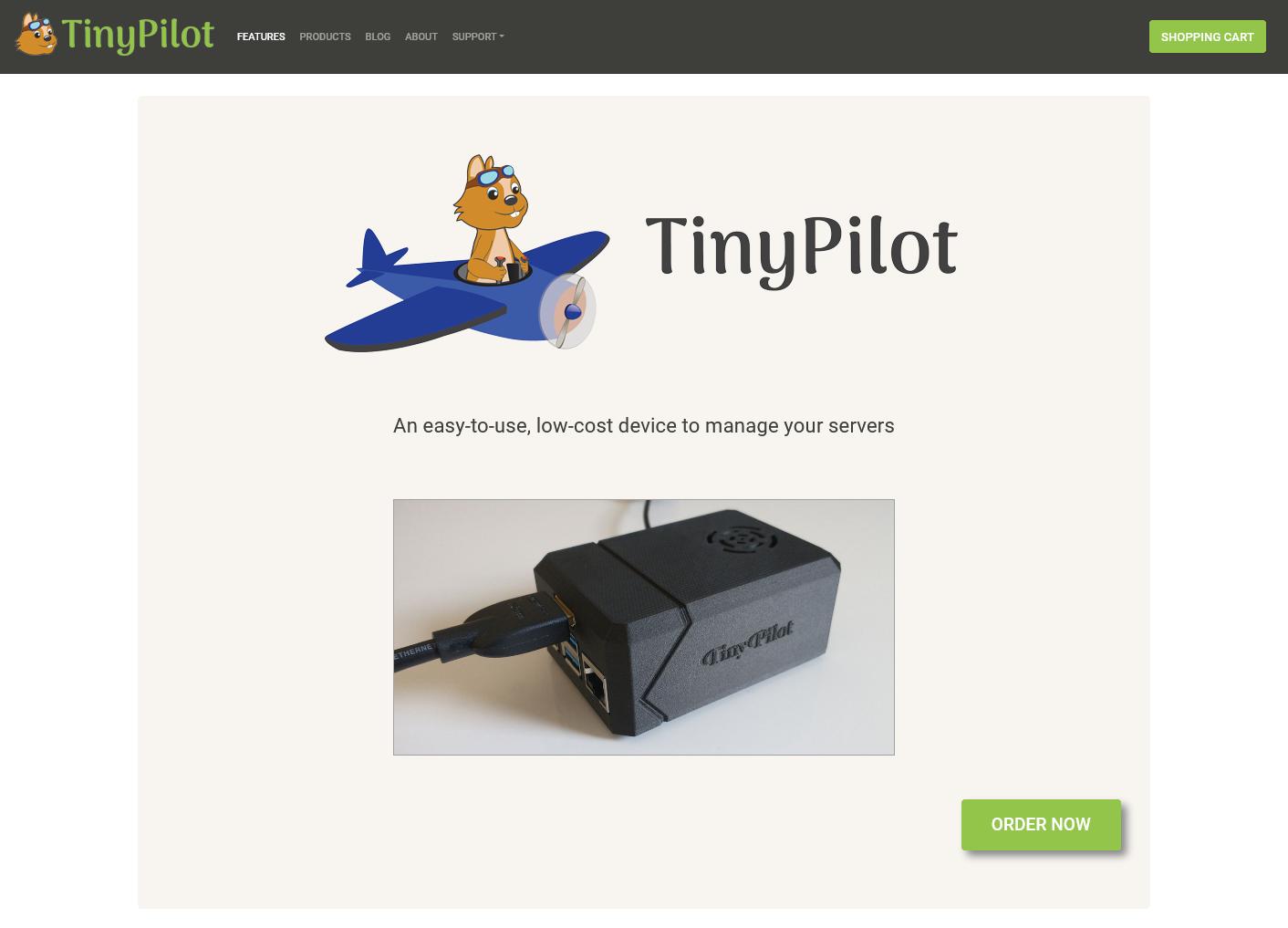 Screenshot of TinyPilot website