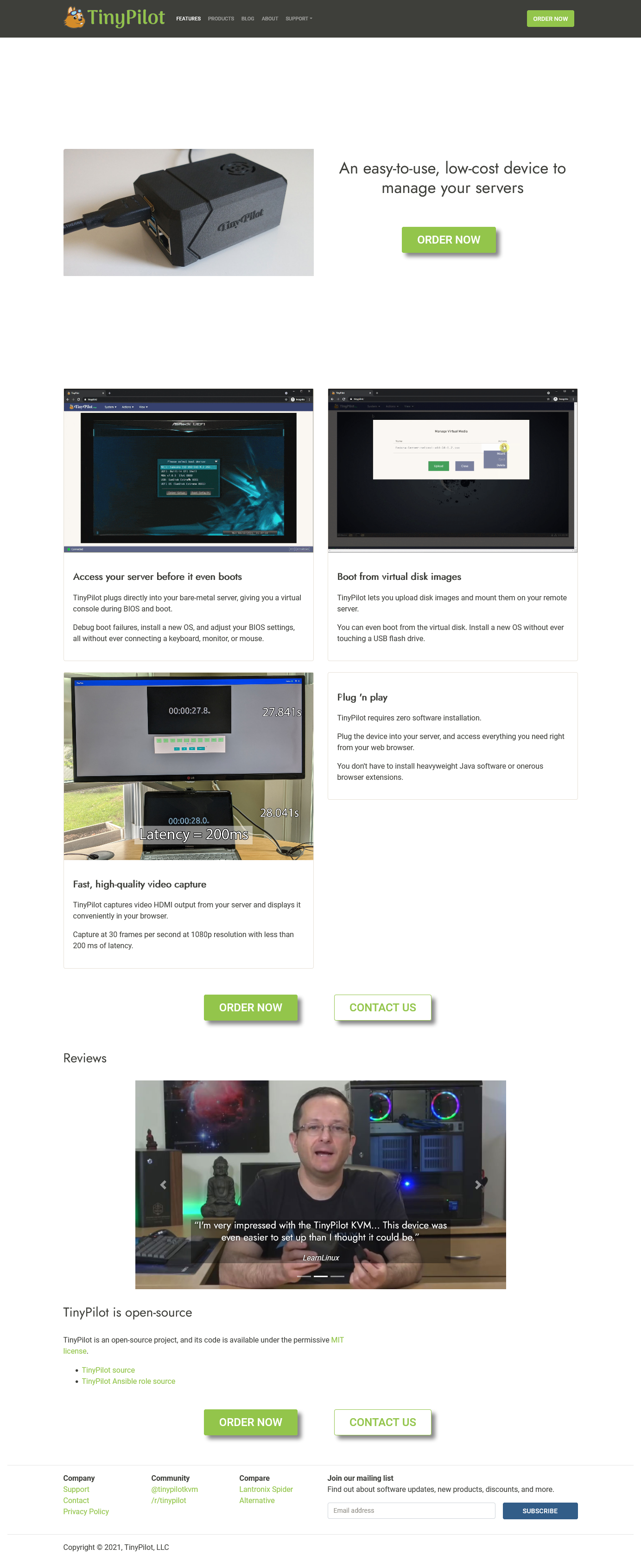Screenshot of TinyPilot homepage before changes
