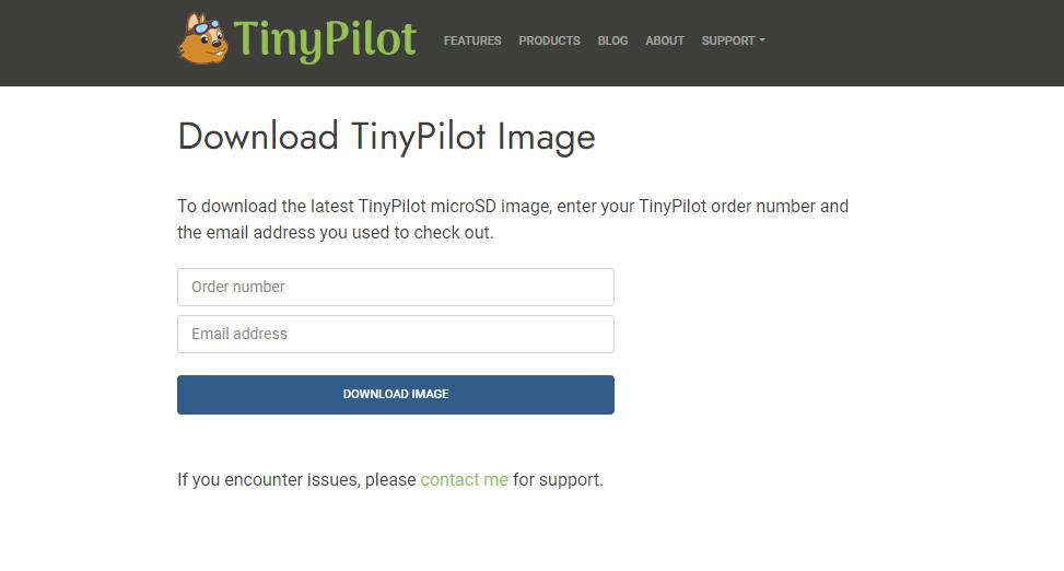 Screenshot of license check form on TinyPilot website