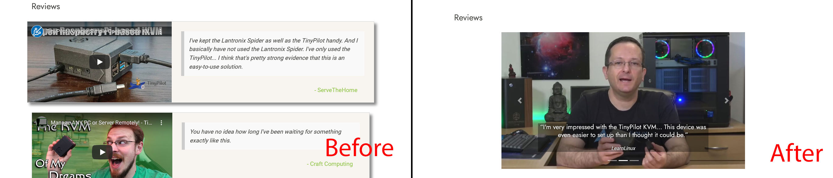 Before and after shots of reviews on TinyPilot website