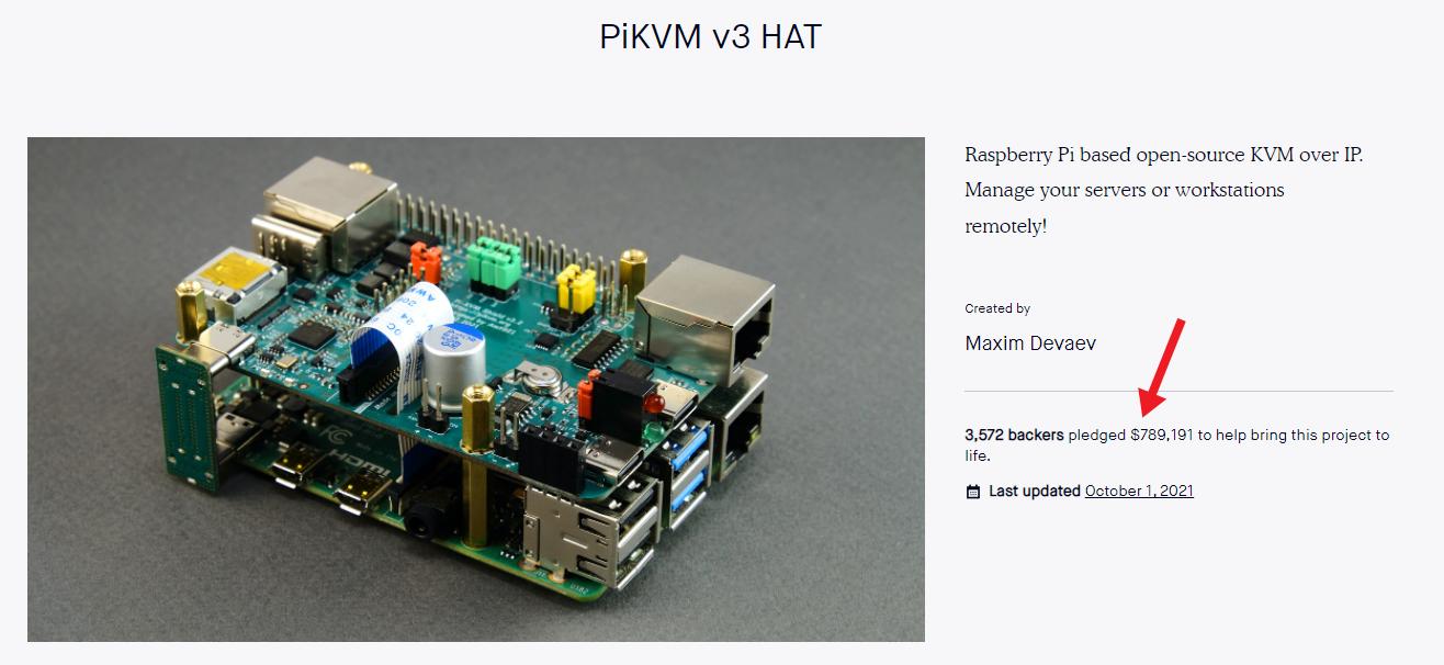 Screenshot of PiKVM Kickstarter, showing $789,191 in funds raised