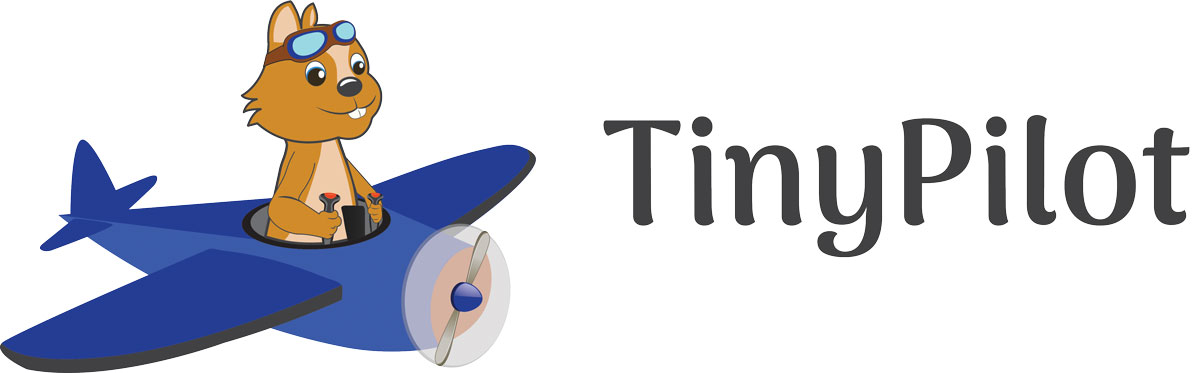 TinyPilot's logo, a chipmunk in an airplane