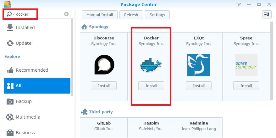 Install Docker package