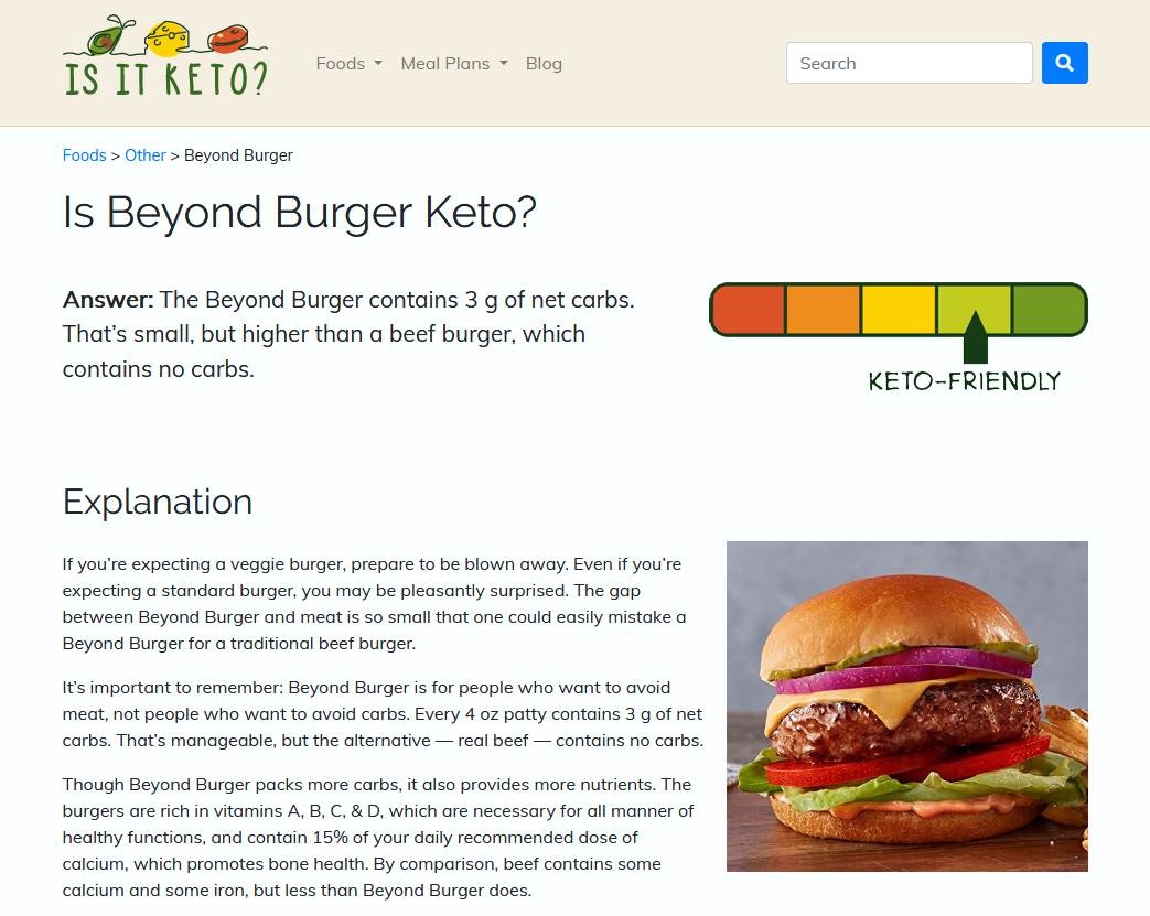 Screenshot of Is It Keto website
