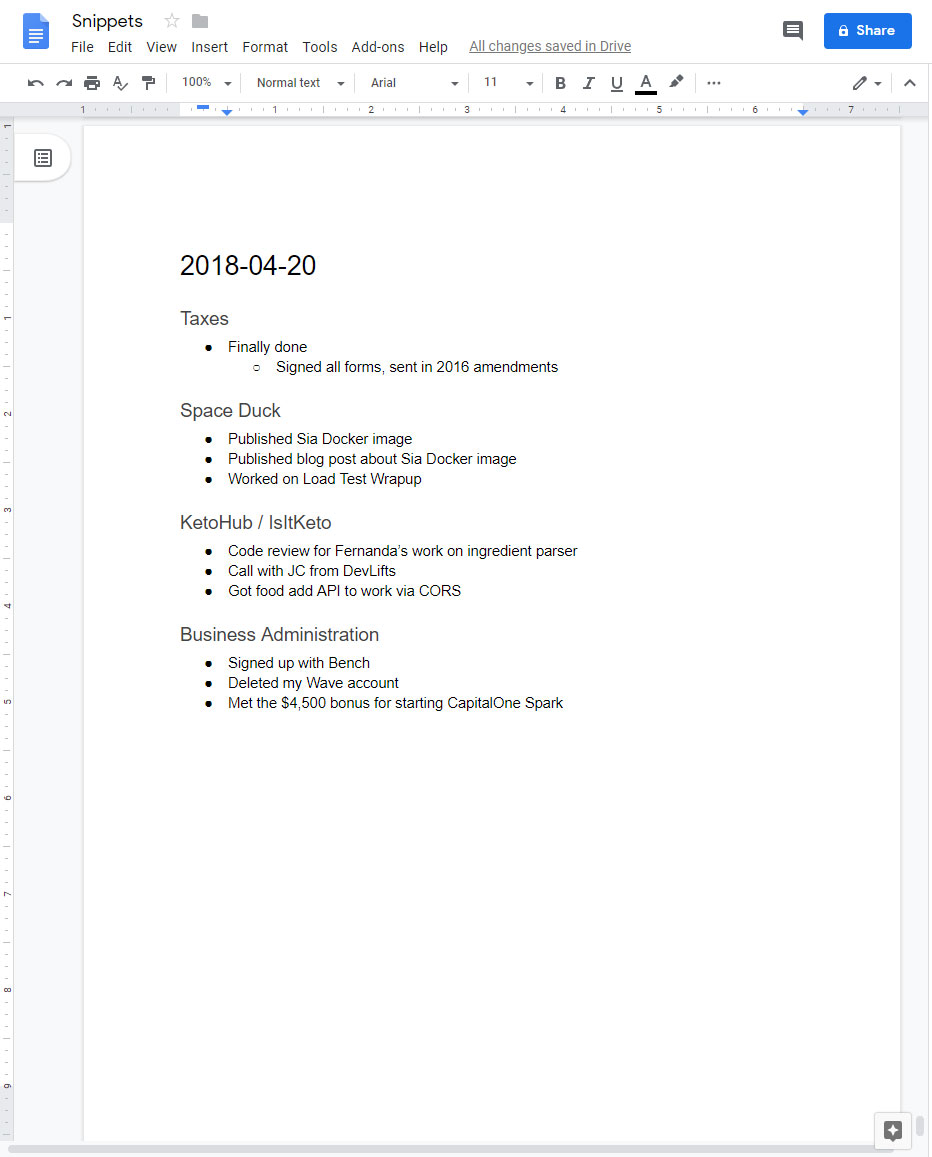 Screenshot of my first Snippet in Google Docs