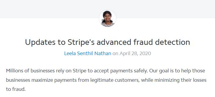 Screenshot of Stripe's blog post