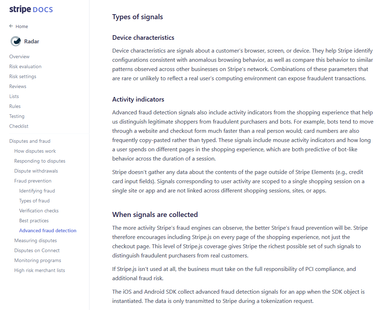 Screenshot of Stripe's fraud detection documentation