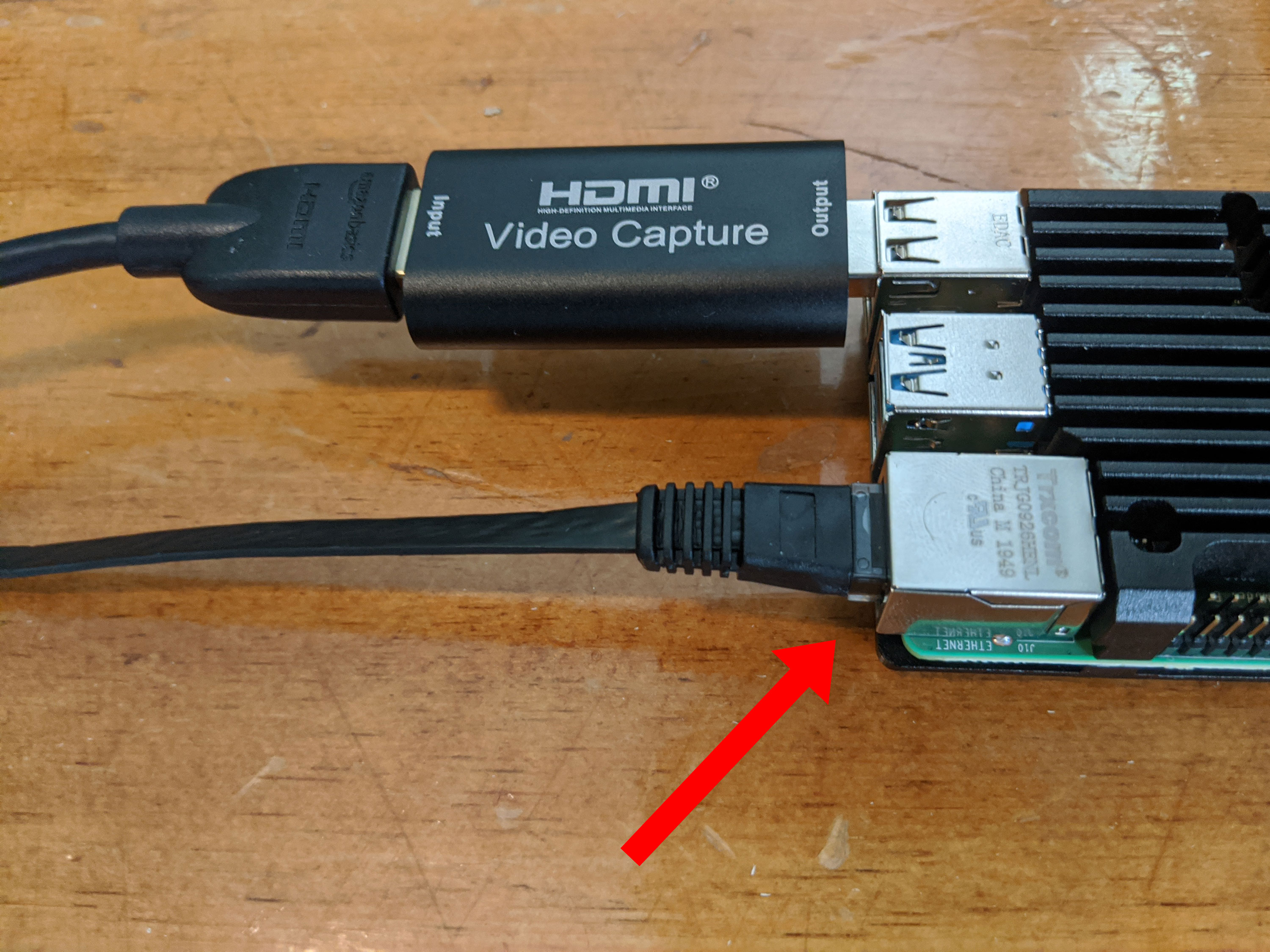 Photo of Ethernet cable connected to Pi device