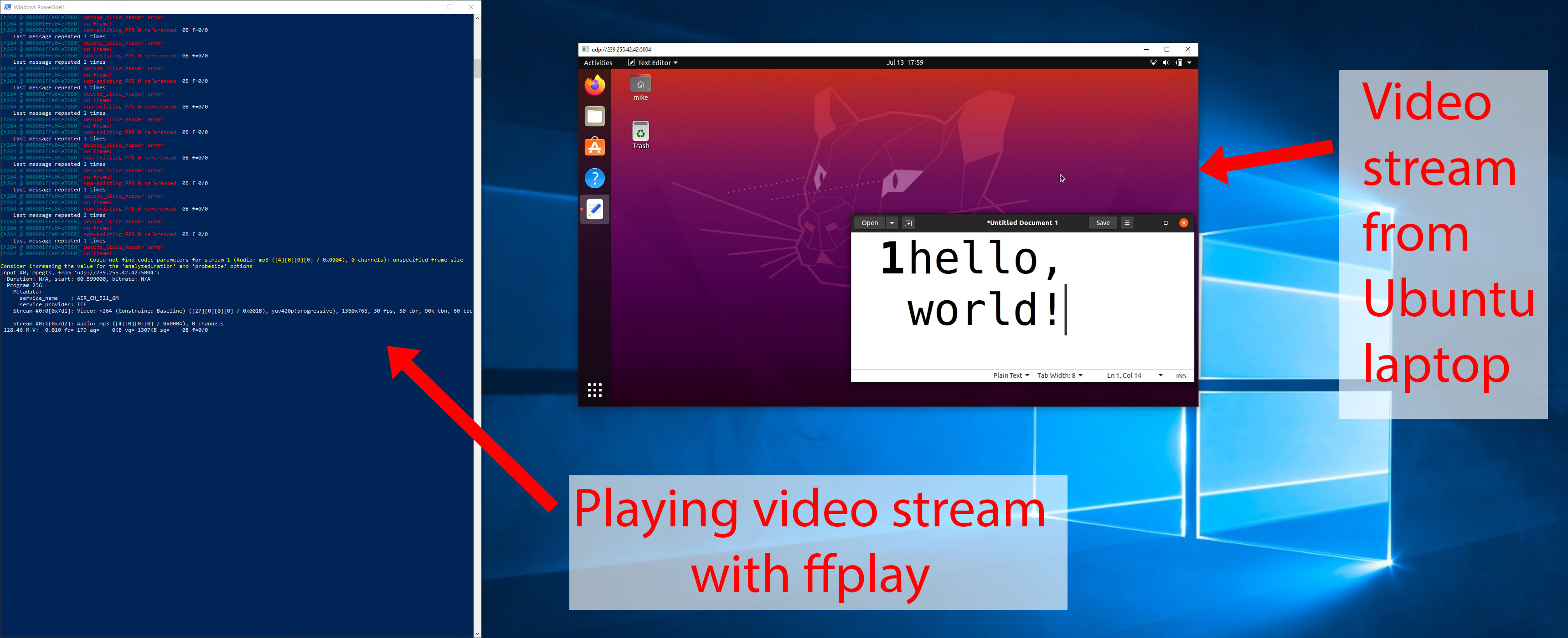 Screenshot of ffplay rendering video stream from LKV373A