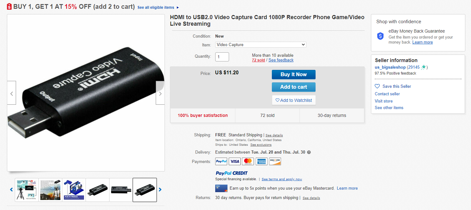 Screenshot of HDMI for sale on eBay for $11.20