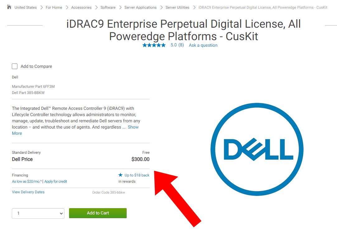 Screenshot of $300 price for iDRAC 9 Enterprise license