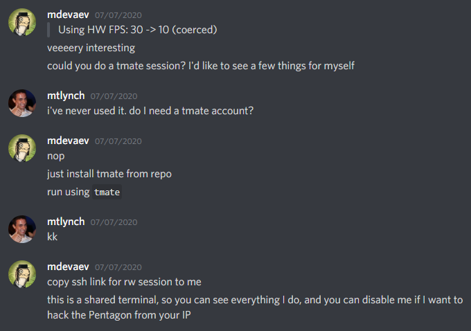 Screenshot of conversation where Max ofers to help me via tmate