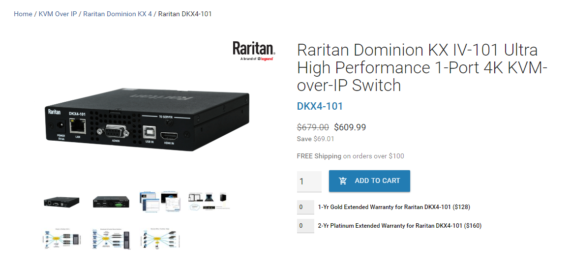 Screenshot of purchsase page for Raritan Dominion KVM over IP