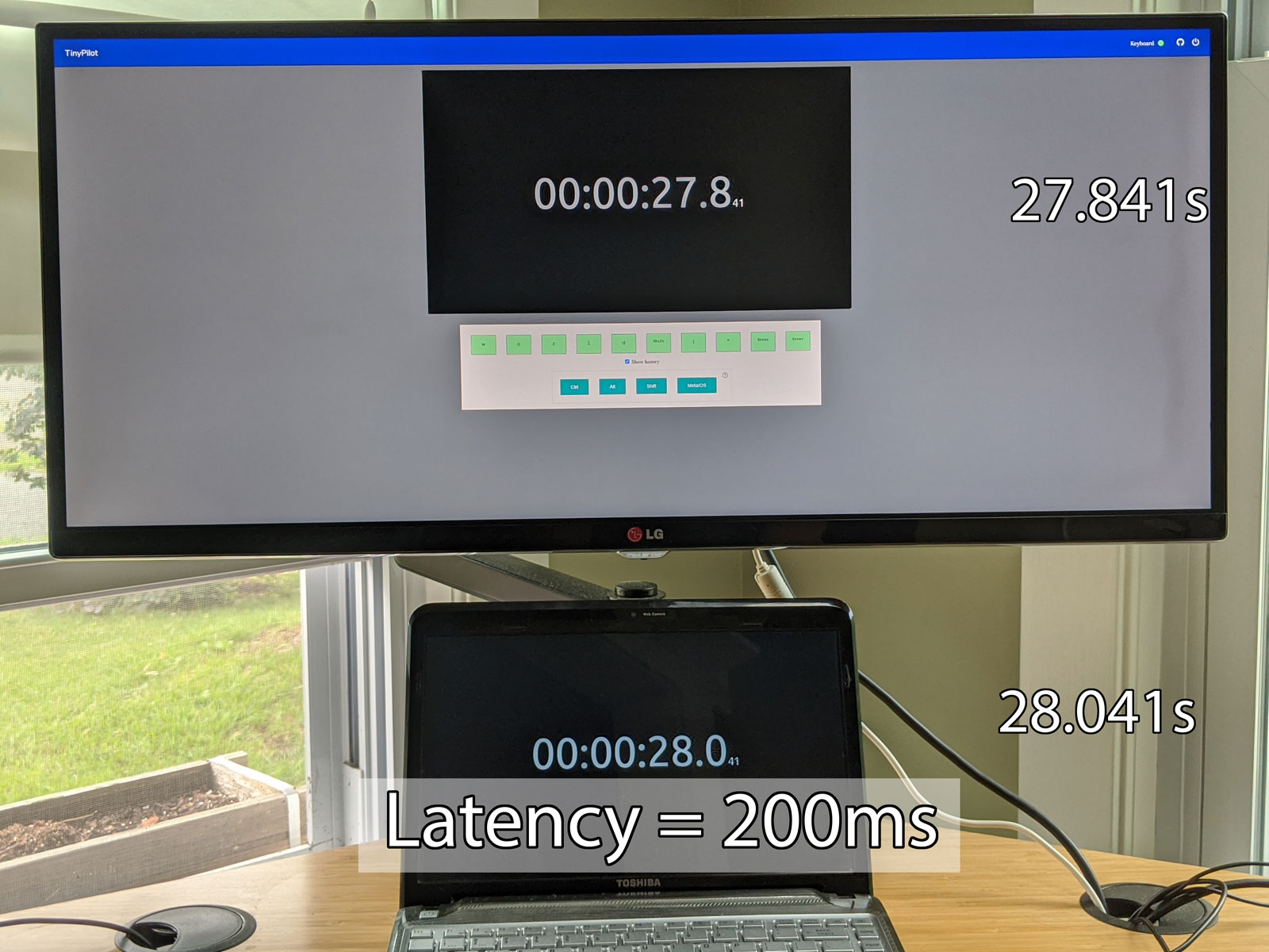 Photo showing 200ms of latency after eliminating re-encode step