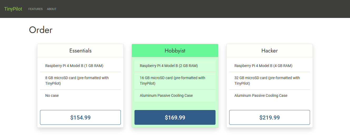 Screenshot of TinyPilot order page