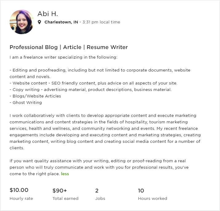 Screenshot of Abi H's Upwork profile