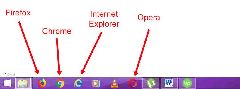 Screenshot of Lizzie's desktop showing Firefox, Chrome, IE, and Opera