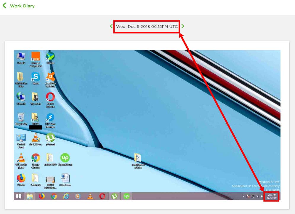 Screenshot of Lizzie's desktop