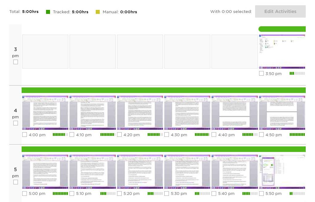 Screenshot of Work Diary dashboard