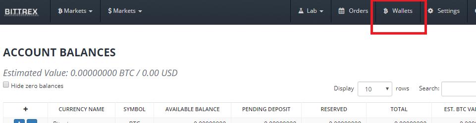 Bittrex wallet button
